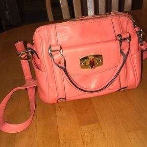 Coral handbag with crossbody strap